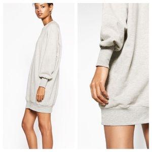 BOGO! Zara W Collection Sweatshirt Tunic Dress Heather Gray
